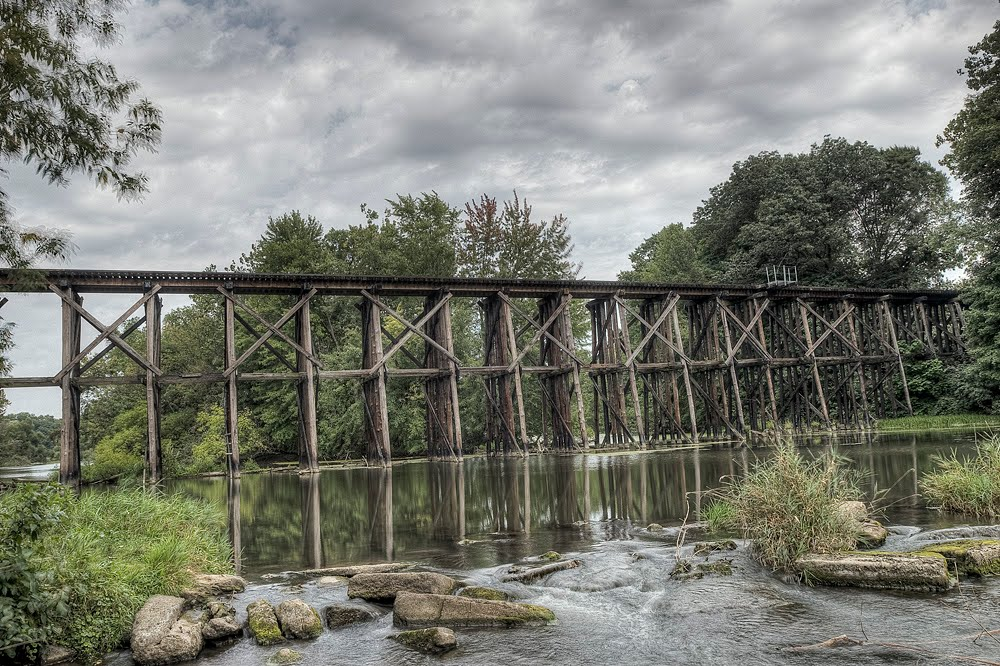A photo of a train bridge in Hamilton, Michigan