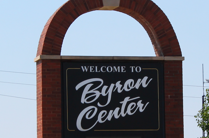 A Photo of Byron Center's Welcome Sign